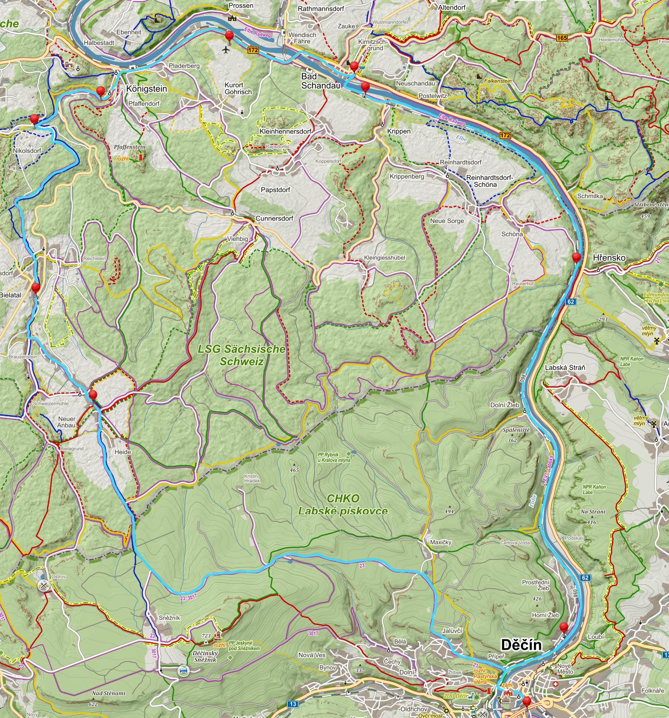 Mapa Bad Schandau CS