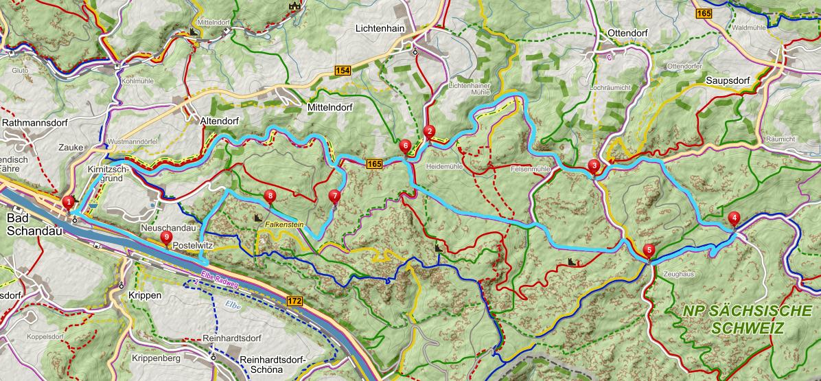Mapa Bad Schandau labske piskovce