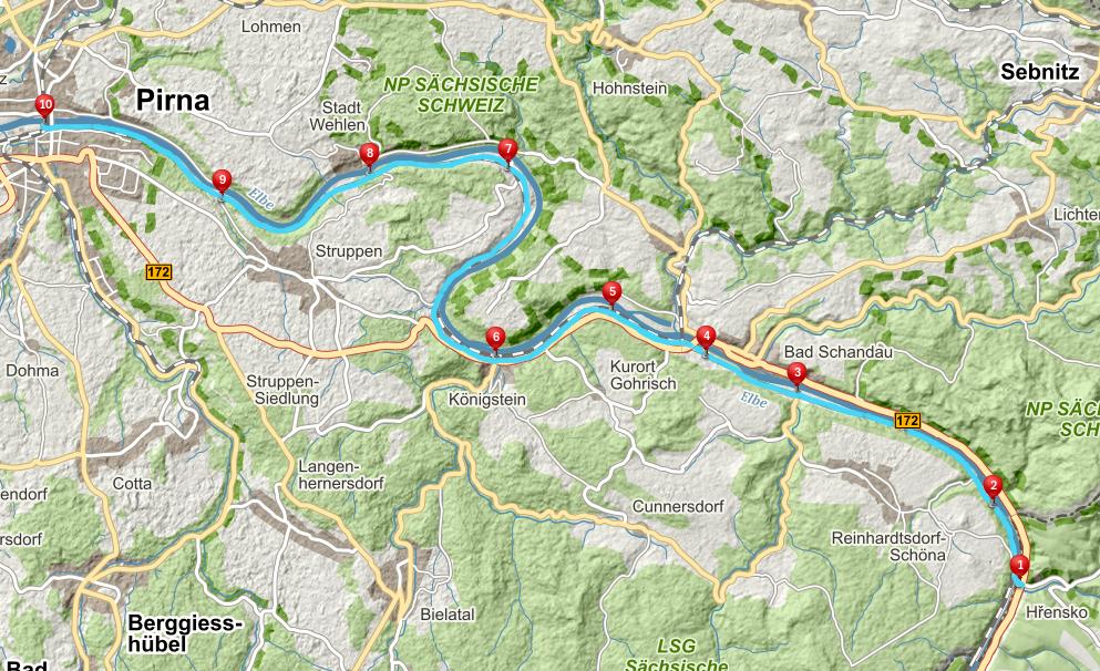 Mapa Hrensko Pirna labska trasa